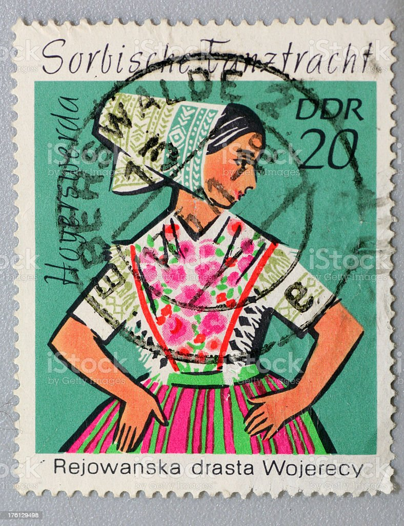 Old Sorbian stamp of the former GDR stock photo
