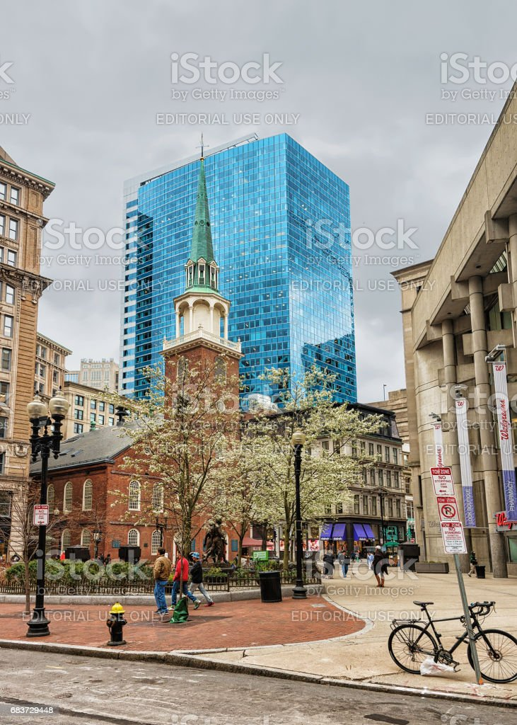 Old South Meeting House in downtown Boston MA stock photo