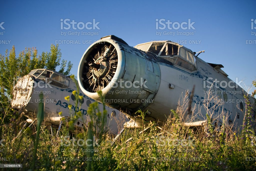 Old Soviet aircraft Antonov An-2 stock photo