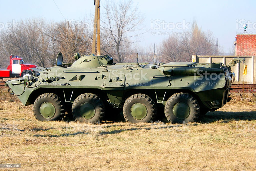 old Soviet Armored troop-carrier stock photo