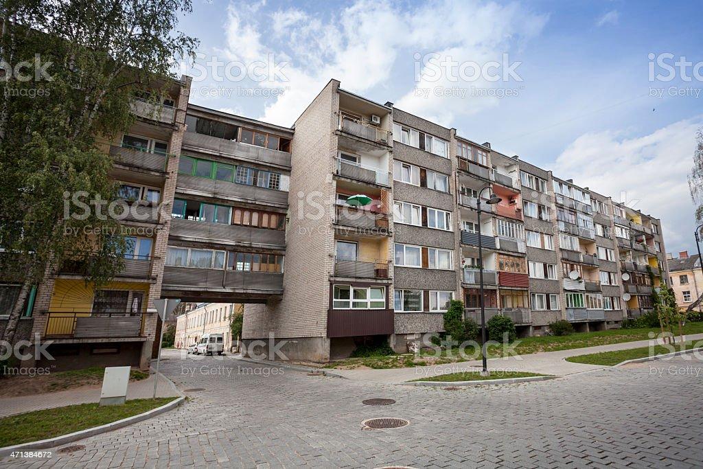 Old Soviet Block apartments stock photo
