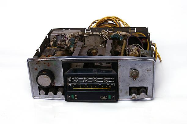 old soviet car cassette radio stock photo