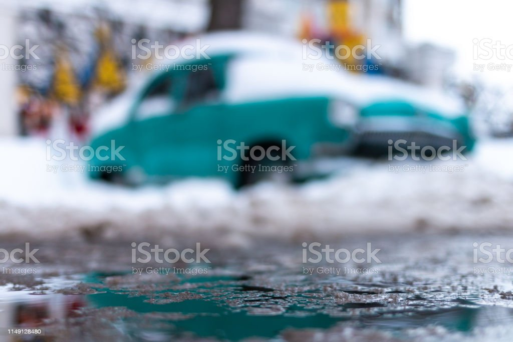 Russia, Moscow - January 31, 2019. Old Soviet car Volga. Turquoise...