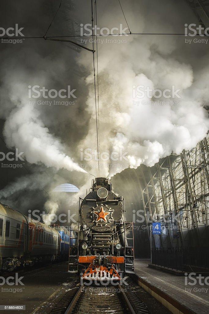 Old Soviet steam locomotive stock photo