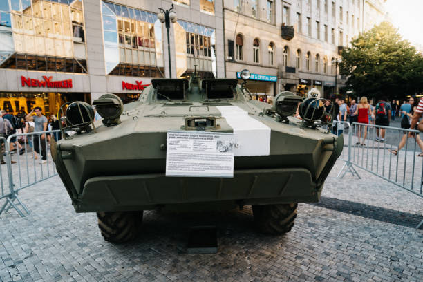 Old Soviet tank in exhibition in Wenceslas Square in Prague Prague,  Czech Republic - August 18, 2017: Old Soviet tank in exhibition in Wenceslas Square about Prague Spring and Soviet Union invasion wenceslas square stock pictures, royalty-free photos & images