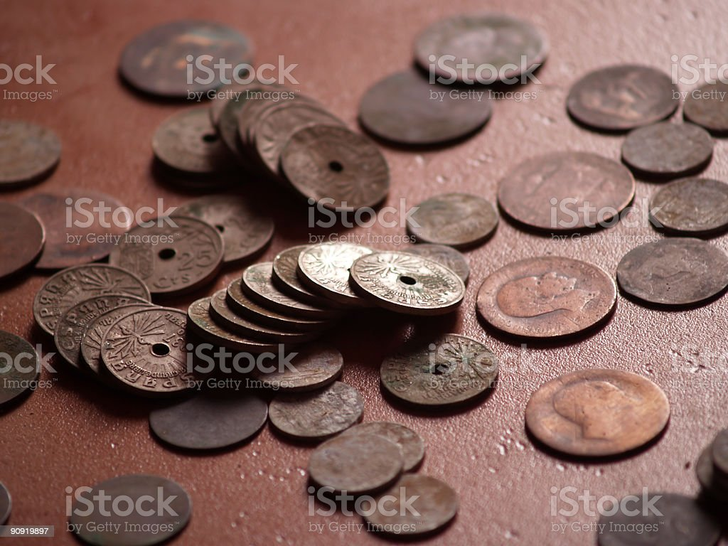 old spanish coins royalty-free stock photo