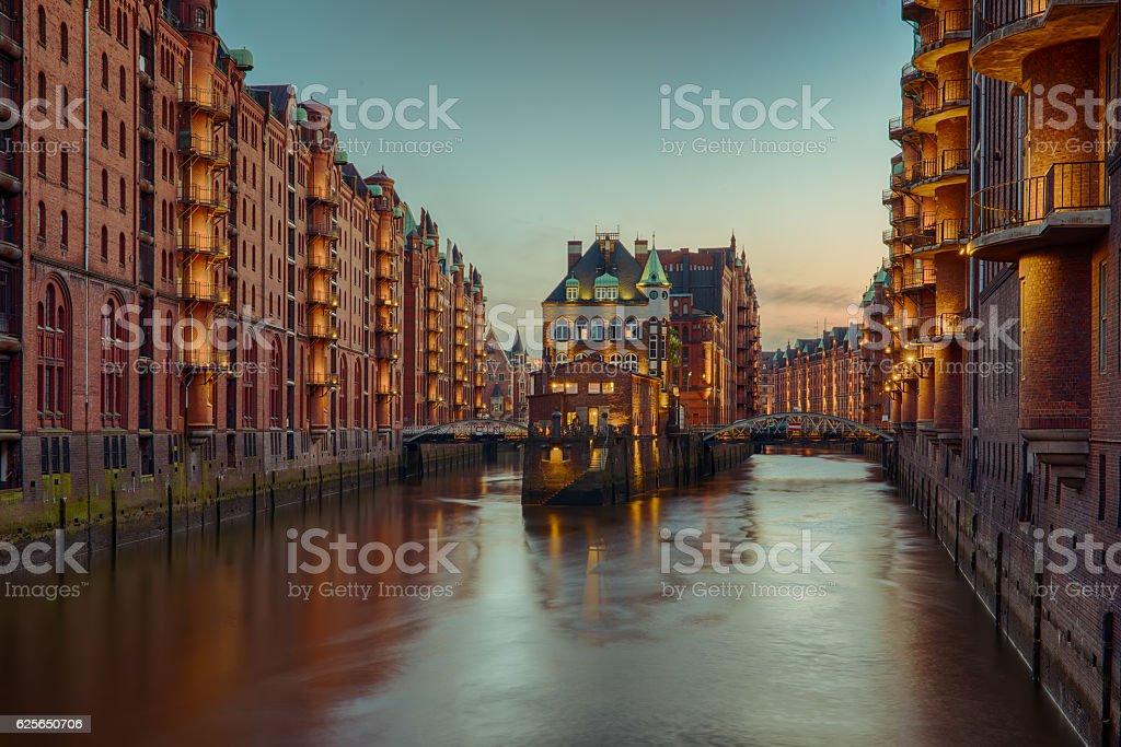 Old Speicherstadt in Hamburg stock photo