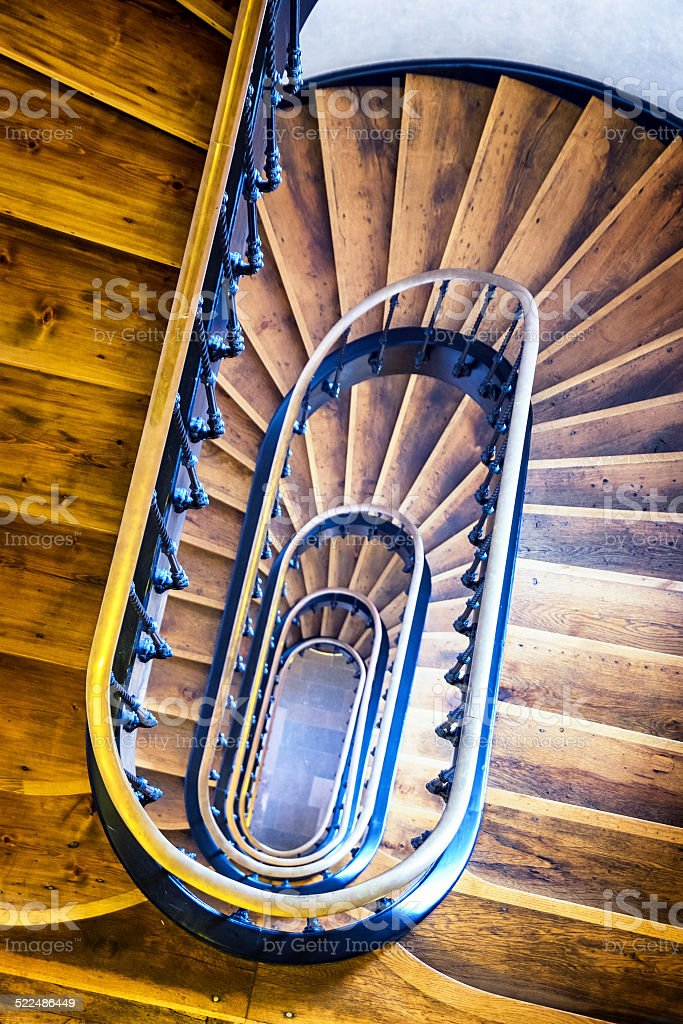 old spircal staircase - wooden steps
