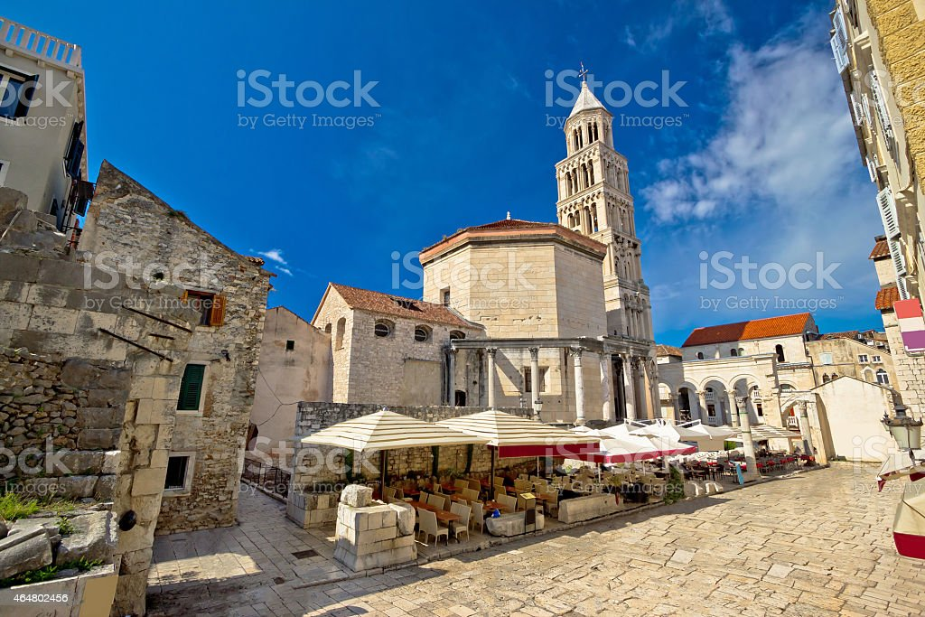 Old Split roman ruins and cathedral stock photo
