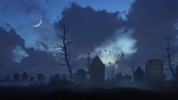 old spooky graveyard at moonlight night - cemetery stock photos and pictures