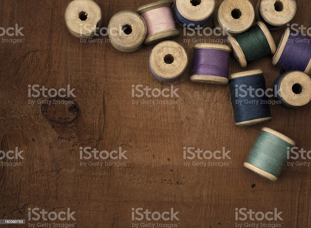 Old spools of thread royalty-free stock photo