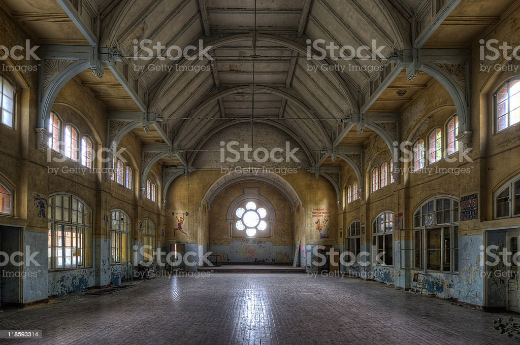 old sports hall royalty-free stock photo