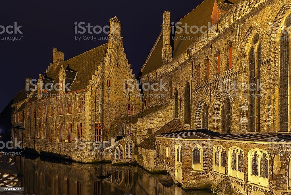 Old St. John's Hospital, Bruges, Belgium stock photo