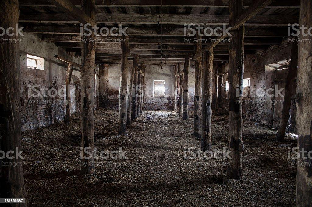 Old stable in Velikaya Lipa town, Belarus stock photo