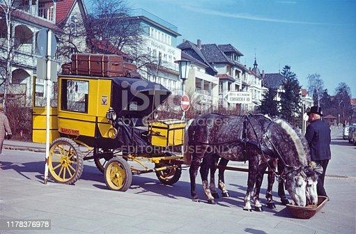 Bad Salzuflen, North Rhine-Westphalia, Germany, 1969. Old stagecoach with coachman.