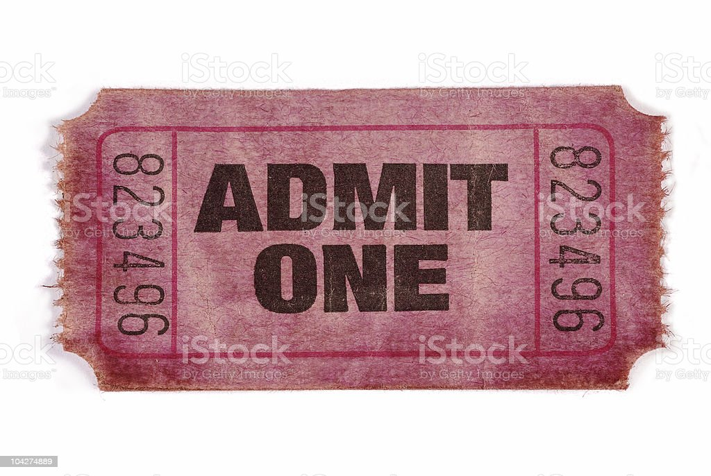 Old stained admission ticket royalty-free stock photo