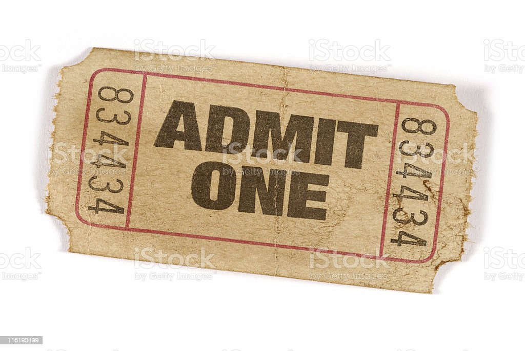 Old stained admission ticket stock photo