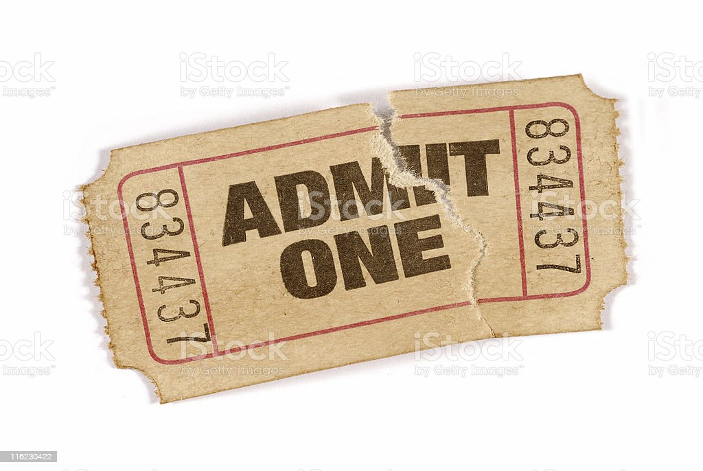 Old stained and damaged admission ticket stock photo