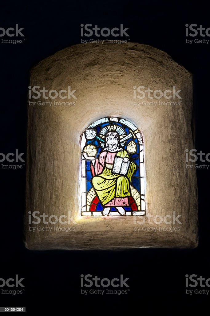 Old Stained Glass in a Church stock photo