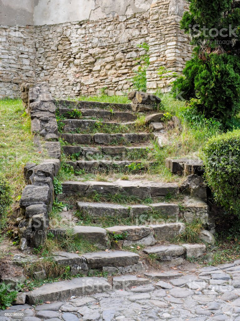 Old stair in Sighisoara stock photo