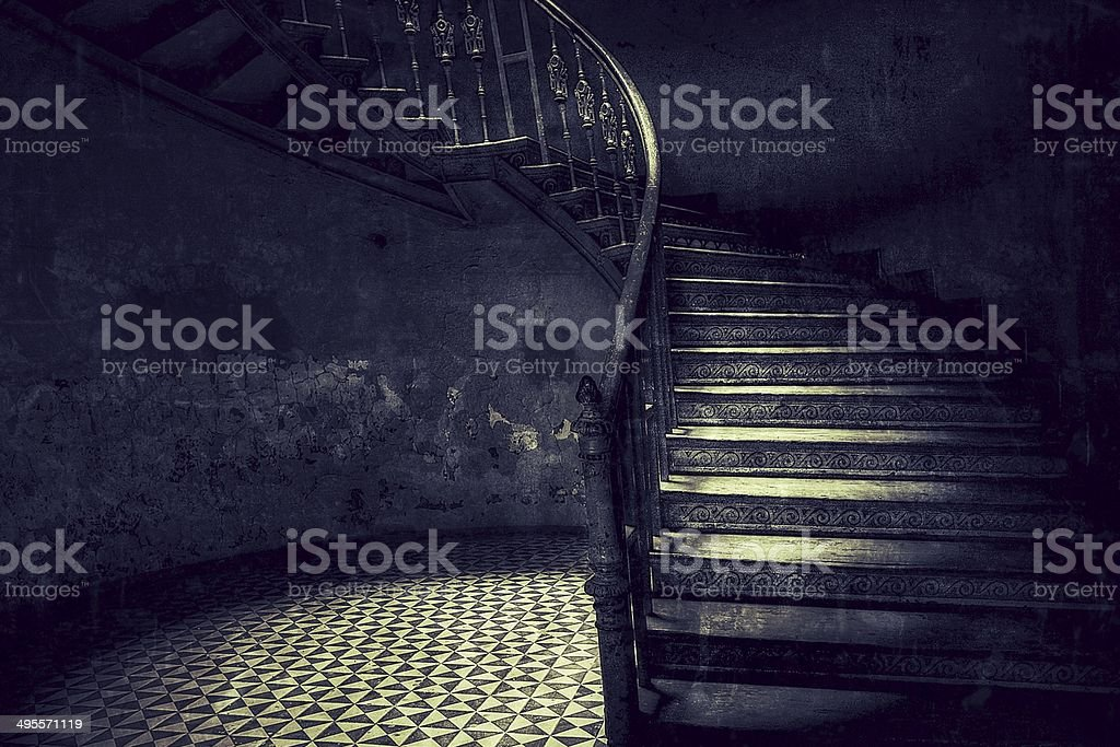 Old stairs retro style stock photo