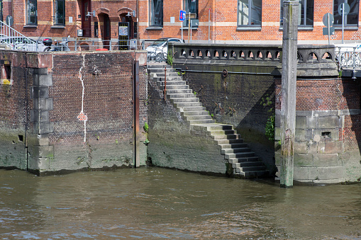 Old stairs to the river of Speicherstadt Hamburg, Germany