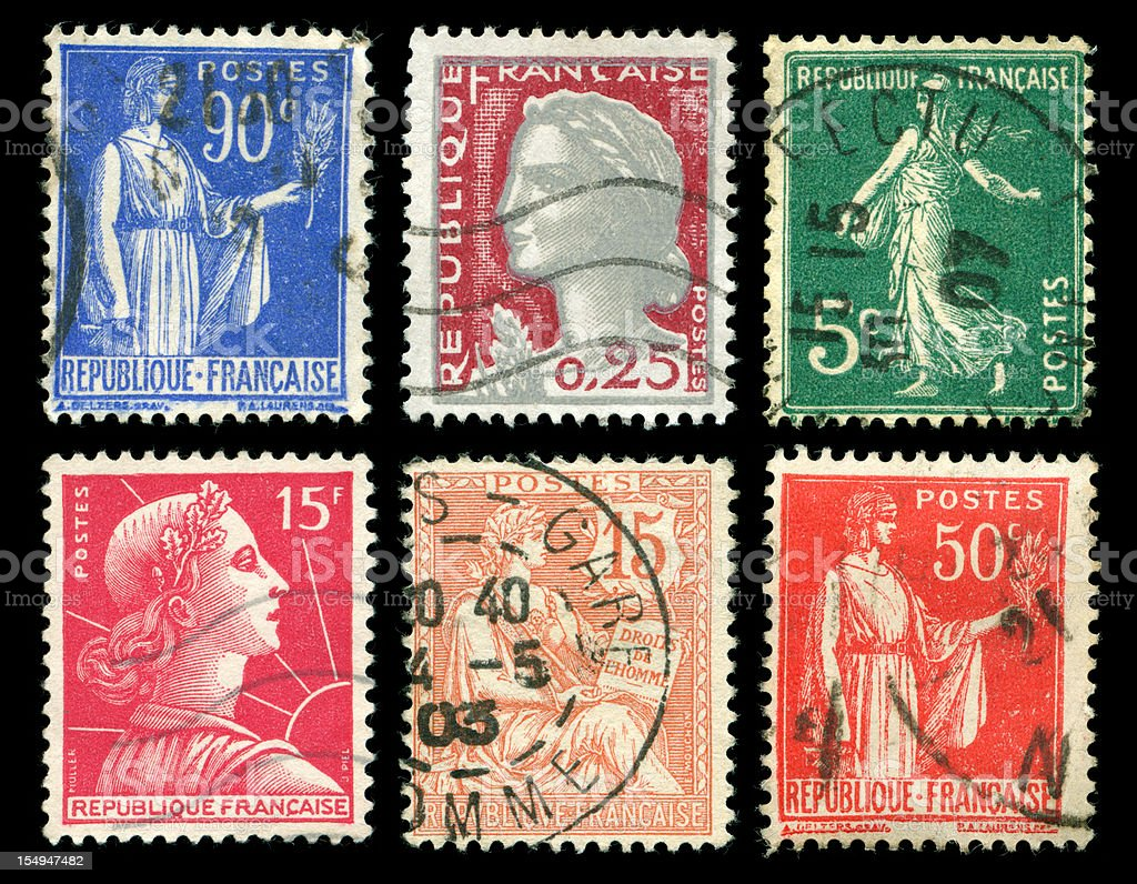Old stamps from France stock photo