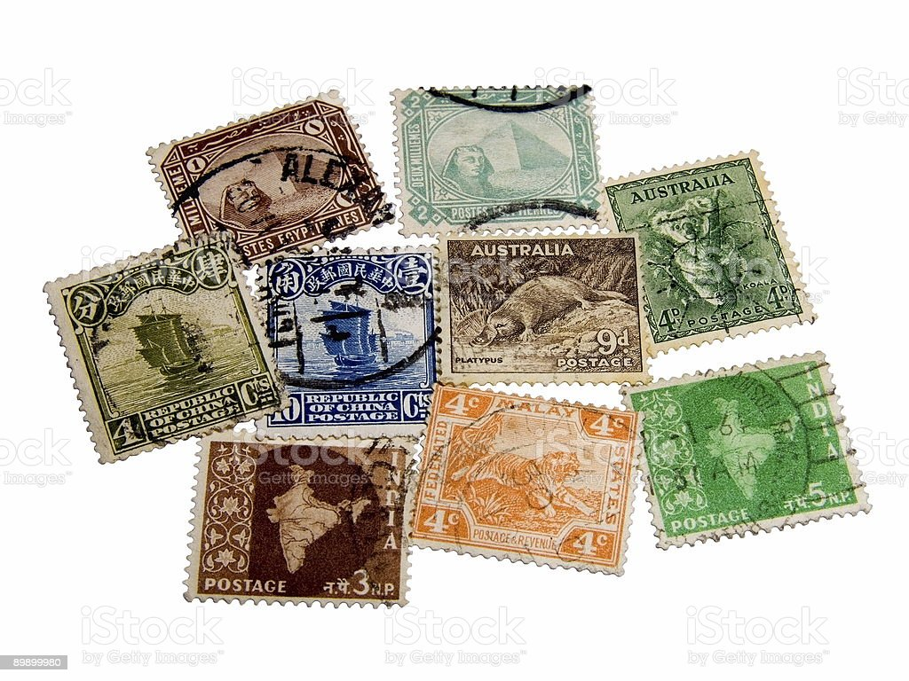 Old stamps royalty free stockfoto