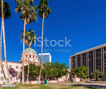 Tucson Arizona Old State Capitol Building, new buildings, and palm trees