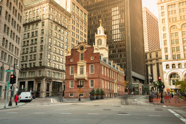 Old State House in downtown Boston Massachusetts USA Old State House on the historic Freedom Trail in Boston Massachusetts USA mass murder stock pictures, royalty-free photos & images