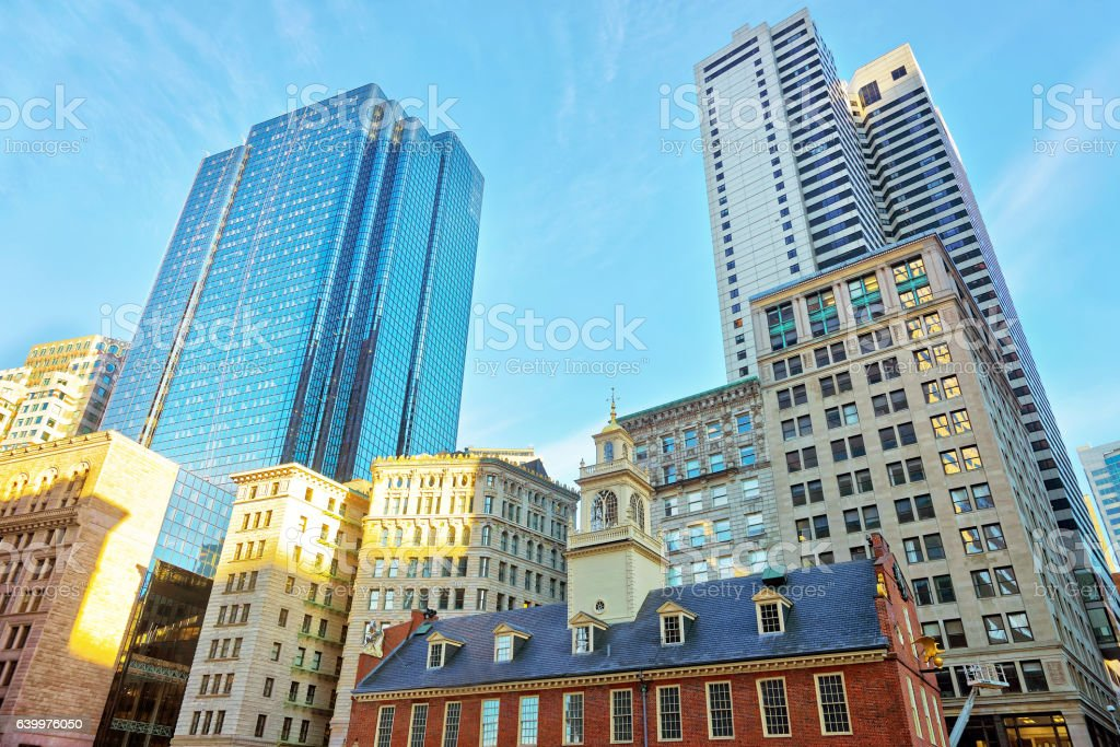 Old State House in Financial District of Boston stock photo