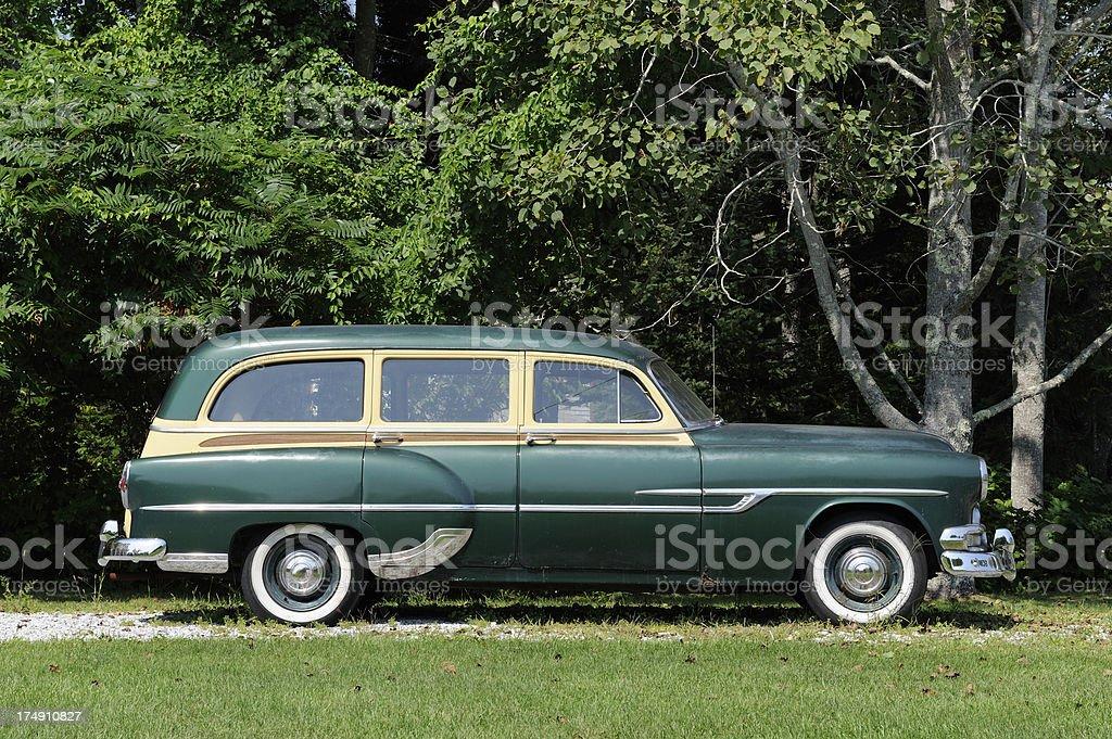 Old station wagon car stock photo