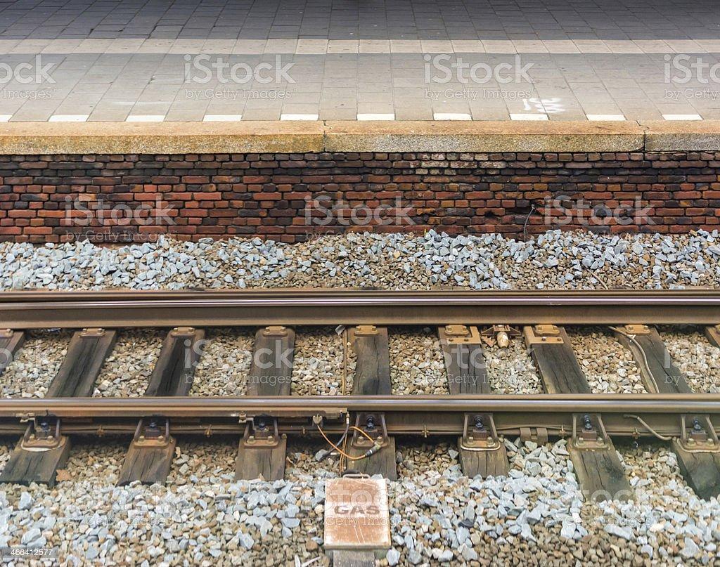Old staton track and platform stock photo
