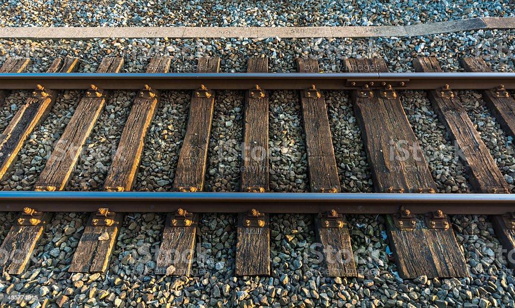 Old staton track at dusk stock photo