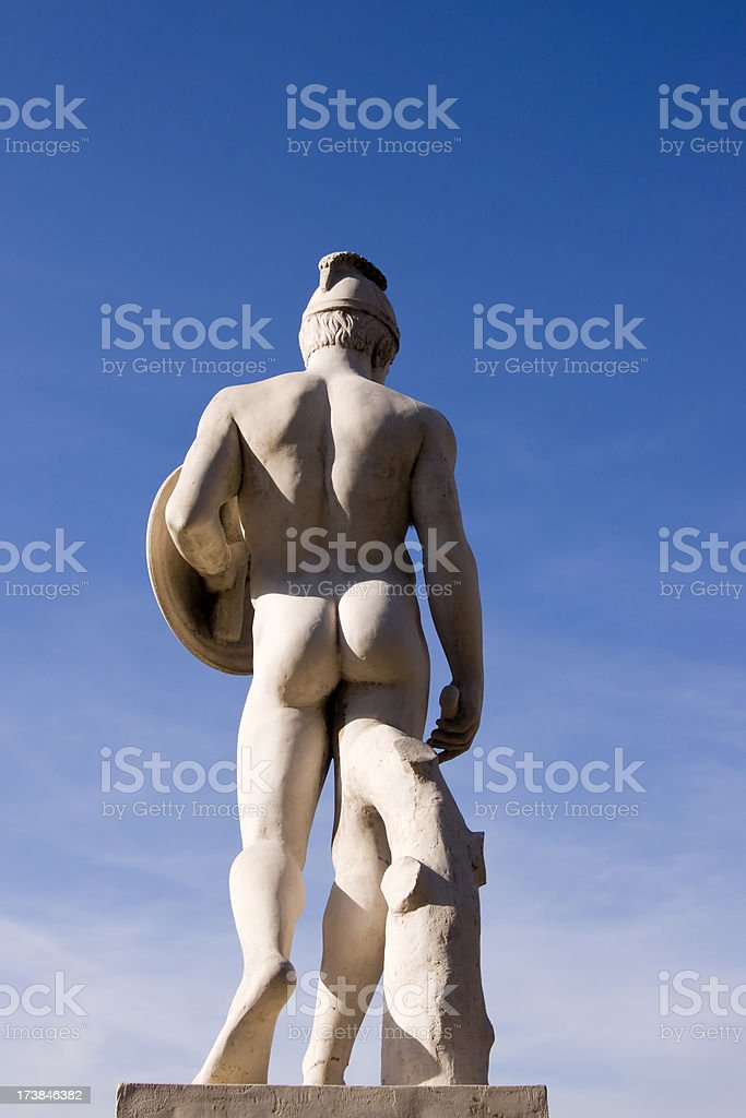 Old statue in Barcelona royalty-free stock photo