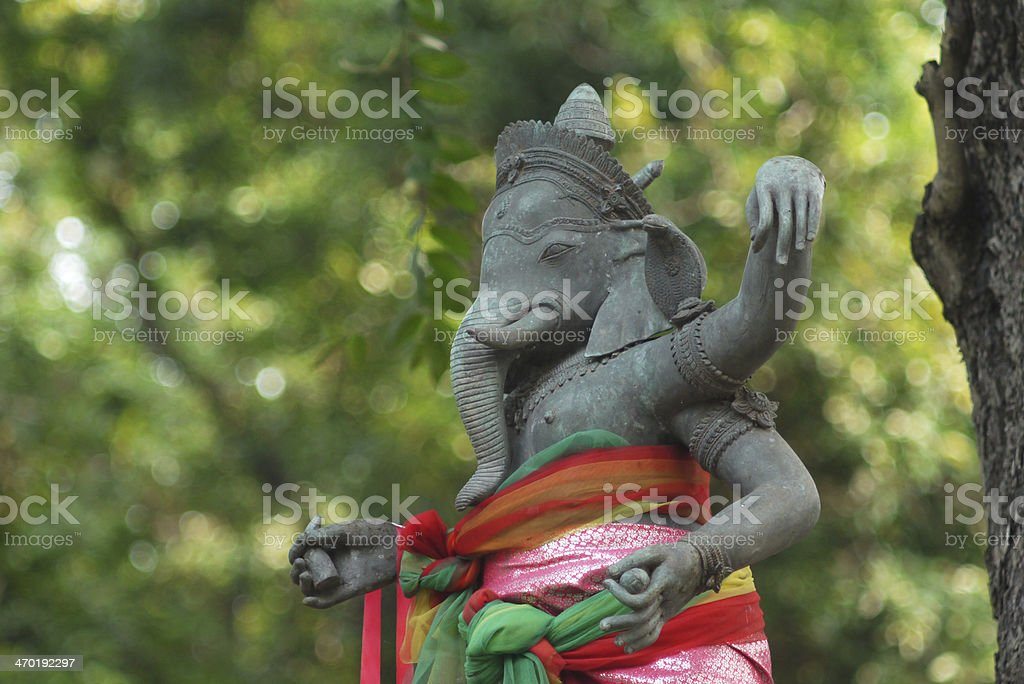 Old statue of Ganesha - a hindu symbol of luck stock photo