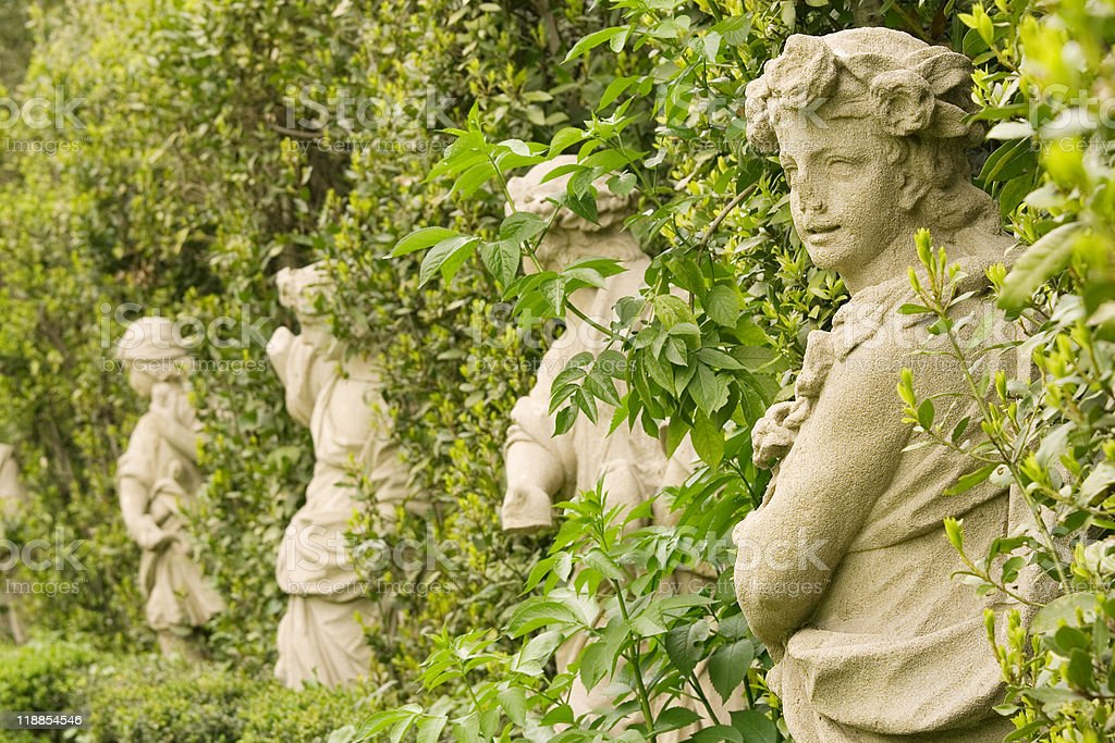 Old statues in the Villa Sciara,Rome, Italy. stock photo