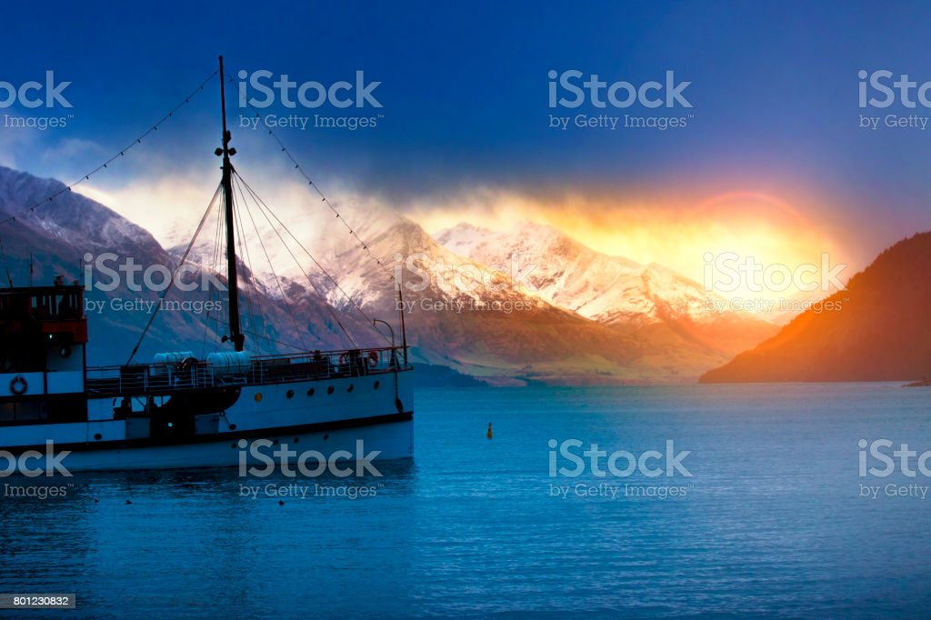 old steam boat in lake wakatipu queenstown most popular traveling destination in south island new zealand stock photo
