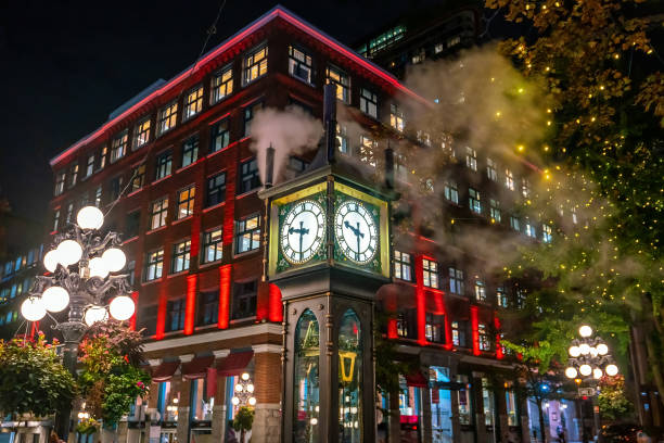 Old Steam Clock in Vancouver's historic Gastown district at night stock photo