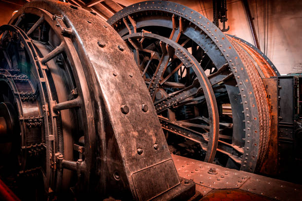 old steam engine for propelling the elevator shaft in a coal mine - industrial revolution stock pictures, royalty-free photos & images