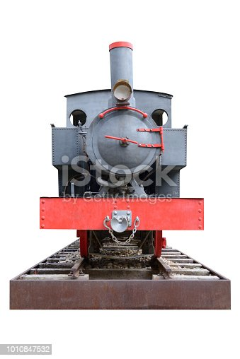 image of old steam locomotive isolated on white background