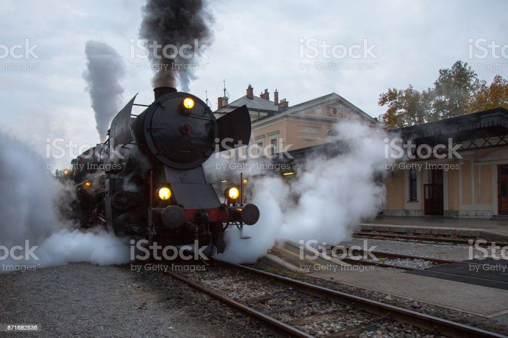 Old Steam Locomotive on Railway Station of Nova Gorica, Slovenia. stock photo
