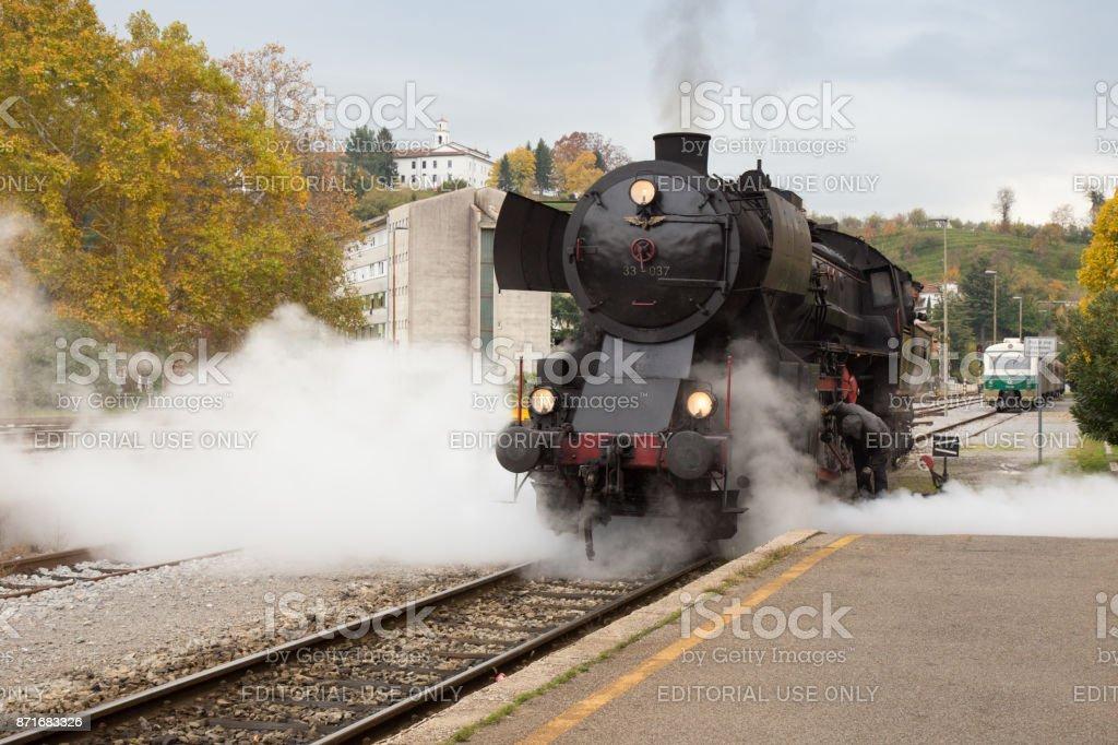 Old Steam Locomotive on Railway Station of Nova Gorica, Slovenia stock photo