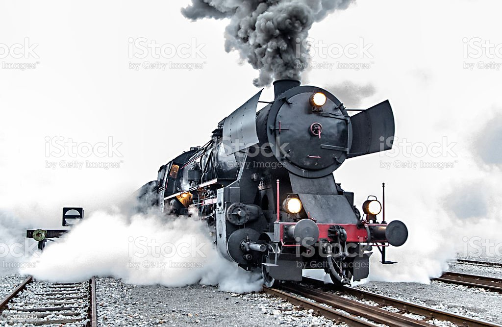 Old steam locomotive, smoke stock photo