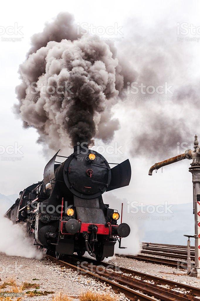 Old steam locomotive, smoke,Nova Gorica,Slovenia stock photo
