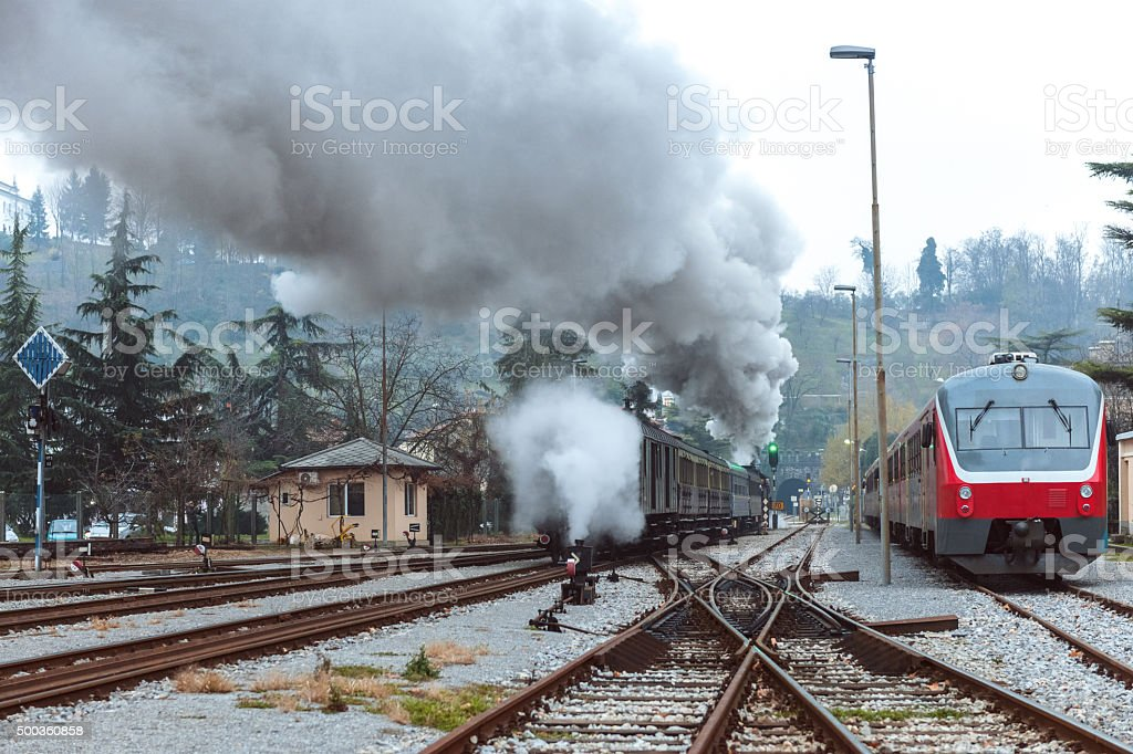 Old steam locomotive, smoke,Old and new steam train,Slovania stock photo