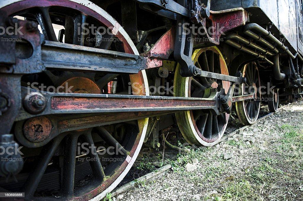 Old steam locomotive wheels royalty-free stock photo