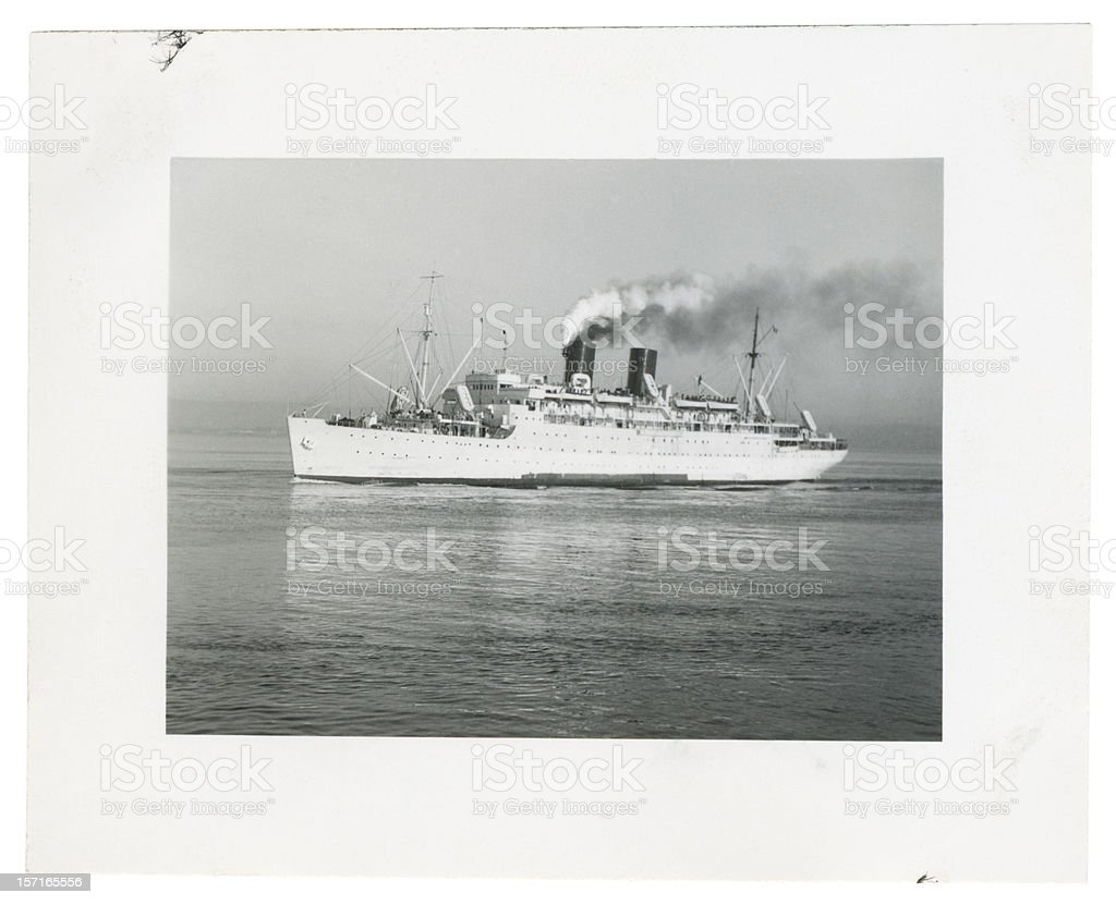 Old Steam Ship in the Ocean royalty-free stock photo