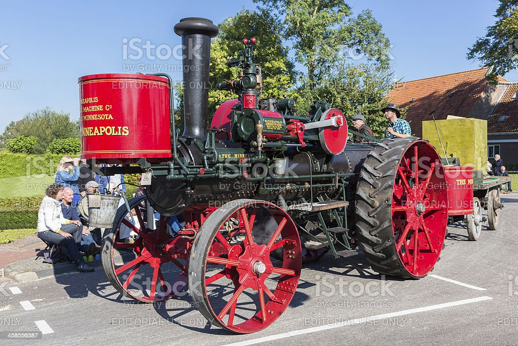 Old steam tractor in a Dutch countryside parade royalty-free stock photo