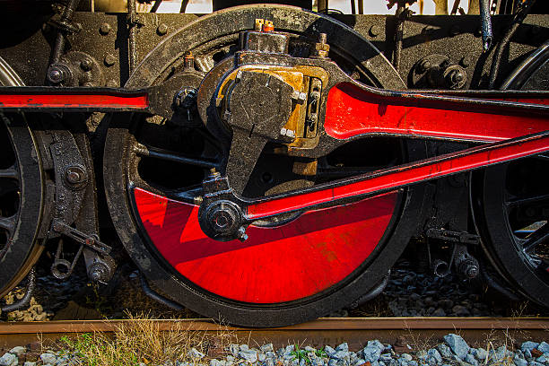 Old steam train, detail of the drive wheel stock photo